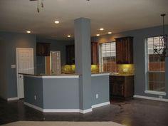 gray walls oak cabinets Light bluegrey with oak cabinets