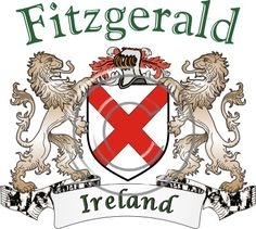 Fitzgerald coat of arms. Irish coat of arms for the surname Fitzgerald from Ireland. View your coat of arms at http://www.theirishrose.com/#top_banner or view the Fitzgerald Family History page at http://www.theirishrose.com/pages.php?pageid=43