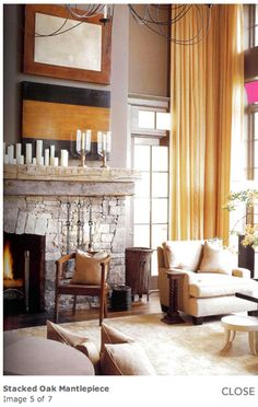 Oak wood fireplace mantle with decorative pieces above it to suit a high ceiling fireplace