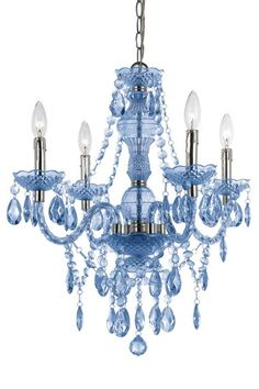 I'd replace that yuck one in the Dining Room with that baby with the quickness! Blue mini chandelier