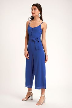 f93ea651fcc Cute Spaghetti Strap Jumpsuit - Culotte Jumpsuit - Midi Jumpsuit