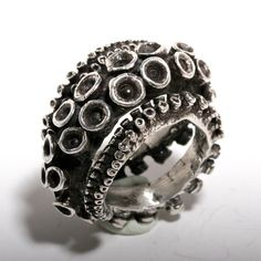 Beautiful double octopus ring sterling silver tentacle rings open shank design by Zulasurfing via Etsy