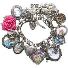 Heart Cameo Flower Charm Bracelet Keys Locks Guilloche Roses from thevintageheart on Ruby Lane