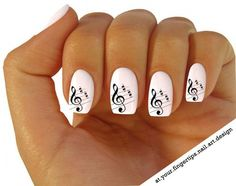 X20 Nail ART Wrap Water Transfers Stickers Decals Black Sheet Music Notes 309   eBay