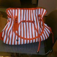 Handbag brand new!! White and orange stripes unknown  Bags Shoulder Bags