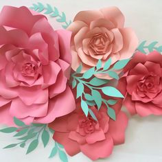 Paper flower backdrop coral large paper flower by PaperFlora