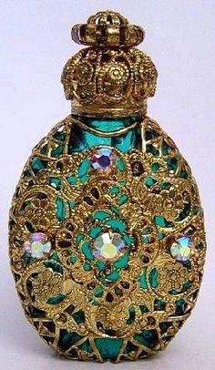 Vintage Aqua and Jeweled Perfume Bottle ~ Beautiful!