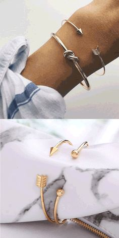 Fashion Golden Arrow Knotted Two Set Open Bracelet #bracelet #arrow