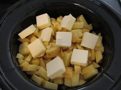 Mashed Potatoes in a Crock Pot - life changing! • 5 lbs sierra gold potatoes or red potatoes, diced with peel • 1 cup water • 1 cup butter, cut into chunks • 1 tablespoon salt, plus • ¾ teaspoon ground black pepper • 1 1/3 cups milk, warmed 1. Place the potatoes, water, and butter into a slow cooker. 2. Season with salt and pepper. 3. Cook on high for 4 hours