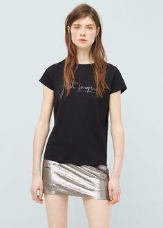 T-shirt modal mensagem   MANGO