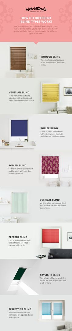 Can't figure out which blind is best for you? Take a look at our guide, covering everything from Venetians, Verticals, to Romans and more, to  find out which blind type suits your space best.