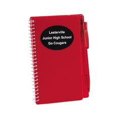 Red Personalized Spiral Notebook & Pen Sets