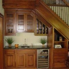 Stair Design With Mini Bar With Faucet And Sink , Under Stair Design With Mini Bar In Home Design and Decor Category