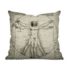 Add sophistication to your favorite sofa or armchair with this iconic image. The exquisite work featured on the Renaissance Man Throw Pillow is a stunning fusion of art and science. This design will ma...  Find the Renaissance Man Throw Pillow, as seen in the Our Favorite Industrial Designs Collection at http://dotandbo.com/collections/our-favorite-industrial-designs?utm_source=pinterest&utm_medium=organic&db_sku=112540
