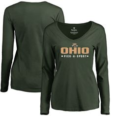 Ohio Bobcats Women's Custom Sport Slim Fit Long Sleeve T-Shirt - Green
