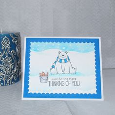 Holiday card using the new My Favorite Things stamp set Polar bear pals . Today is day 14 of the Daily Marker 30 day coloring challenge .