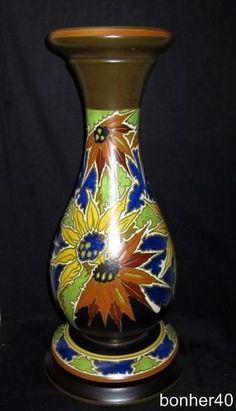 Great Vintage Gouda Zuid Holland Ivora Dutch Mat Glazed Piedestal Vase Sunflower   eBay