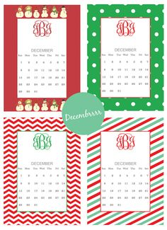 Free printable monogram calendars for December #monogram