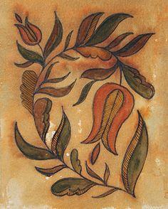 Folk Embroidery Design frakturs by k.: Dipping Into the Past Primitive Painting, Primitive Folk Art, Primitive Crafts, Primitive Stitchery, Primitive Patterns, Primitive Snowmen, Wood Crafts, German Folk, Art Populaire