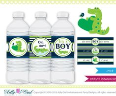 Cute Crocodile Alligator Water Bottle Labels Baby Shower, Blue Green boy baby shower, it's a boy, welcome baby- digital file only - aa01