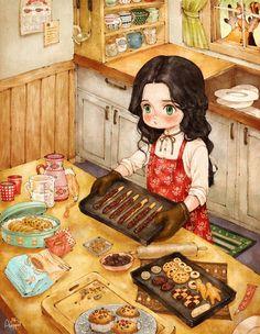 밀가루와 달걀, 설탕과 아몬드, 그리고 초코칩... 내가 좋아하는 재료들로 쿠키를 만들어 보아요. 온 집에 달콤한 냄새가 가득, 즐거워서 나도 모르게 휘파람이 나오네요. 잘 된 쿠키들을 예쁜 통에 한아름 담아 포장하면, 동물 친구들을 위한 맛있는 깜짝선물이 될 거에요!