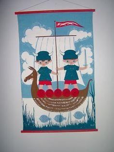 Danish Eames Denmark Viking Boys aase og preben jangaard Fabric Wall Hanging…