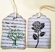 UNIQUE! These 16 Gift Tags are of 2 Designs; Both have a poem stamped on the background (6) with a tree and overhead flying birds - beginning