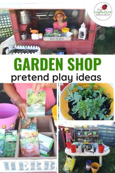 Set up this easy garden shop role play activity for children and watch them develop a love for gardening and outdoor play. Play Based Learning, Preschool Activities, Kids Learning, Infant Activities, Scavenger Hunt For Kids, Outdoor Play Spaces, Pretend Play, Role Play, Garden Shop