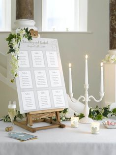 An elegant table plan wedding dunelm. Products used: Classic Elegance candleabra, Simply Collection champagne flute, Daler Rowney Simply Wooden table easel, Classic Elegance tealight holder, English Ivy Garland Wedding Table Seating, Wedding Reception Backdrop, Reception Table, Table Easel, Wood Table, Pine Cone Wedding, Wedding Decorations, Table Decorations, Centerpieces