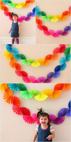Cute rainbow garland for adorning the basic dividers! Enormous occasions call for festivities and wh Cool Paper Crafts, Paper Crafts Origami, Diy Arts And Crafts, Diy Paper, Crafts For Kids, Diy Crafts, Diy Birthday Banner, Diy Birthday Decorations, Paper Decorations