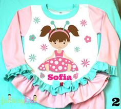 Litlle Lady bug Girl Pajama! Personalized | Girls Personalized ...