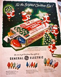G.E vintage christmas bulbs ad-1940s-from Life magazine