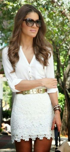 Adorable lace skirt (needs to be longer) and a gorgeous white shirt, Love the whole look!