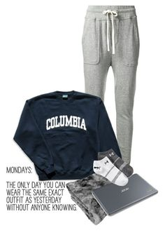 """""""I love that about Mondays """" by sydneymellark ❤ liked on Polyvore featuring James Perse, Columbia, Under Armour, women's clothing, women, female, woman, misses, juniors and comfyclothes"""