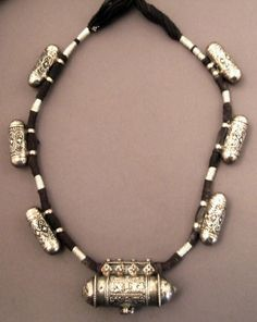 India | Silver and cord amulet necklace from Himachal Pradesh | Sold