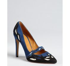 Isabel Marant marine and black suede 'Kylie' mary jane pumps