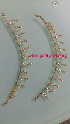 Champa Saralu India Jewelry, Ear Jewelry, Trendy Jewelry, Gold Jewelry, Beaded Jewelry, Fashion Jewelry, Sterling Silver Anklet, Silver Anklets, Gold Earrings Designs