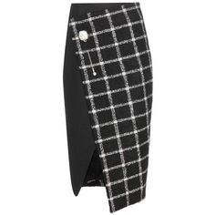 Balenciaga Check Wool Blend Wrap Skirt (158,720 INR) ❤ liked on Polyvore featuring skirts, bottoms, black, balenciaga, checked skirt, black wrap skirt, checkered skirt and black skirt