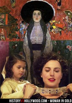 """Gustav Klimt's """"Portrait of Adele Bloch-Bauer II"""". In the foreground is a young Maria Altmann and her Aunt Adele in the Woman in Gold movie. See more: http://www.historyvshollywood.com/reelfaces/woman-in-gold/"""