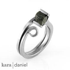 gray raw diamond ~ channel-set in a stainless steel scroll ring by kara | daniel, via Flickr