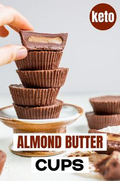 Luscious Almond Butter Cups Recipe which is Keto, Low Car and Vegan. You can soon conjure up a family pleasing healthy dessert if you make these easy Chocolate Almond Butter Cups. Chocolate Candy Recipes, Low Carb Chocolate, Healthy Chocolate, Almond Butter Cups Recipe, Homemade Peanut Butter Cups, Yummy Healthy Snacks, Healthy Desserts, Healthy Meals, Low Carb Candy