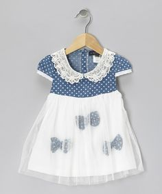 Take a look at this Blue Polka Dot Bow Babydoll Dress - Infant & Toddler by S Square on #zulily today!