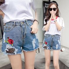 (15.59$)  Know more - http://aibh3.worlditems.win/all/product.php?id=G8864BL-XXL - Women Jean Shorts Washed Denim Floral Rose Embroidery Grids Holes High Waist Ripped Frayed Slim Pants White/Blue