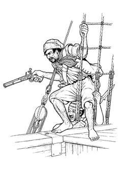 Dessin de deux pirates à l'abordage, à colorier.
