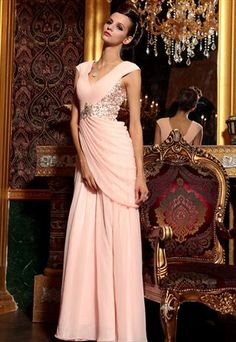 Soft Pink V Neck Beaded Long Prom Bridesmaid Evening Dress  from TINAELASON