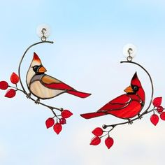 Hanging Stained Glass, Modern Stained Glass, Custom Stained Glass, Stained Glass Windows, Stained Glass Cardinal, Stained Glass Birds, Stained Glass Suncatchers, Vitrail Cardinal, Sun Catchers