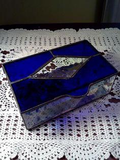 Vintage glass trinket box Cobalt Blue Beveled by WeeLambieVintage, $24.95