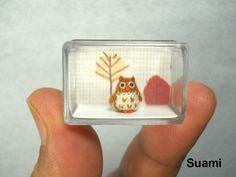 Tiny Brown Owl - Micro Crochet Miniature Bird -