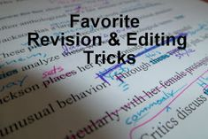 """""""Favorite Revision and Editing Tricks"""" This article is not a list grammar facts, but a list of steps to remember when heavily editing a paper, especially a long paper. Editing Writing, Fiction Writing, Writing Process, Writing Quotes, Writing Advice, Writing Resources, Teaching Writing, Writing Help, Essay Writing"""