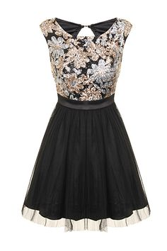 Gold Silver Sequin Skater Prom Dress | Shop Mini Dresses for Prom | PDUK